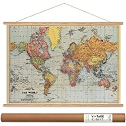 "Cavallini Papers Stanford's World Map Vintage Style Decorative Poster & Hanger Kit, 28"" x 20"""