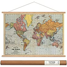 """Cavallini Papers Stanford's World Map Vintage Style Decorative Poster & Hanger Kit, 28"""" x 20"""""""