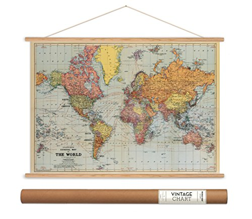 Poster World Map Old (Cavallini Papers Vintage Style Decorative Poster & Hanger Kit 28 x 20 28