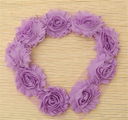 2 Meters Frayed Chiffon Rose 3D Flower Lace Edge Trim Ribbon 6 cm Width Shabby Chic Colourful Edging Trimmings Fabric Embroidered Applique Sewing Craft Wedding Dress DIY Clothes Decor (Light Purple)