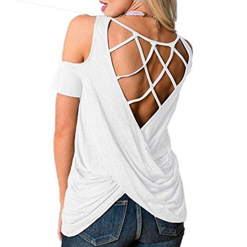 T Blouses Fit en Top Shirts O Mousseline Fashion 1 Soie Lache Blanc Dcollet Chemise Dcontracte Mesdames de Backless Tee FYZPqY