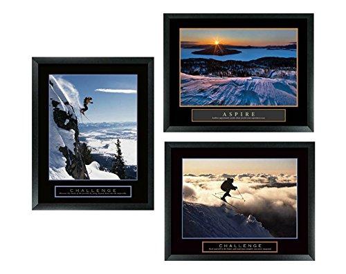 Challenge Framed Motivational Print (Set of 3 Framed Challenge Ski Skiing and Aspire Snow Motivational Posters Art Prints 22x28)