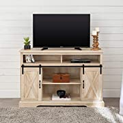 "Walker Edison Furniture Company Modern Farmhouse Sliding Barndoor Wood Tall Universal Stand for TV's up to 58"" Flat Screen Living Room Storage Cabinet Entertainment Center, 33 Inches, White Oak"