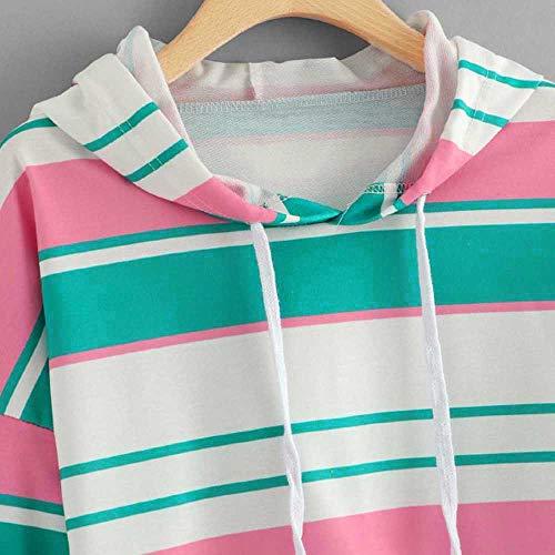 T Aimee7 Capuche Blouse Sweatshirt Manche Longue Vert Sweats À Femme Courte Shirts Rayé 88fxSBqw