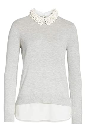 d44eaebdb09c8b Amazon.com  Ted Baker Nansea Floral Collar Layered Sweater in Grey ...
