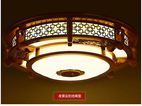 Leihongthebox Ceiling Lights lamp Chinese ceiling light round high wooden ceiling lamp lights arts emulation villa engineering Ceiling lamp for Hall, Study Room, Office, Bedroom, Living Room,600mm by Leihongthebox (Image #3)