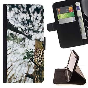 For Samsung Galaxy S6 Case , Bark Woods Nature Wilderness - la tarjeta de Crédito Slots PU Funda de cuero Monedero caso cubierta de piel