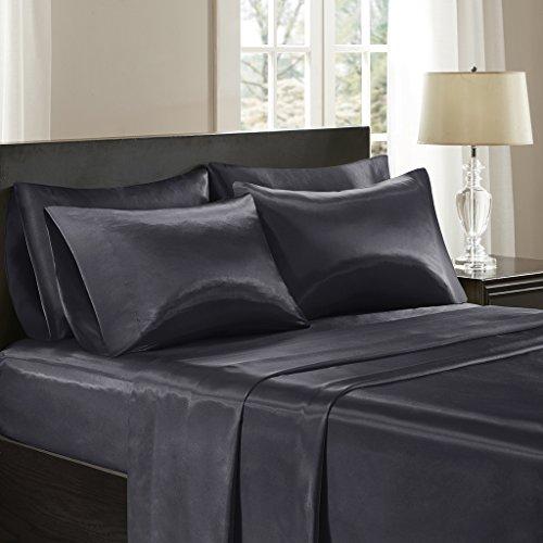 Madison Park Essentials SHET20-172 Premier Comfort Satin 6 Piece Sheet Set Full Black (Comfort Essentials Set)