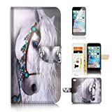 ( For iPhone 6 6S 4.7') Flip Wallet Case Cover and Screen Protector Bundle A20470 Princess Horse