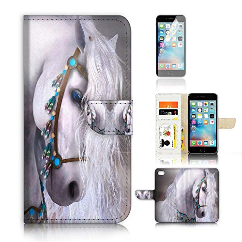 ( For iPhone 6 6S 4.7') Flip Wallet Case Cover and Screen Protector Bundle A20470 Princess Horse by Pinky Beauty Australia