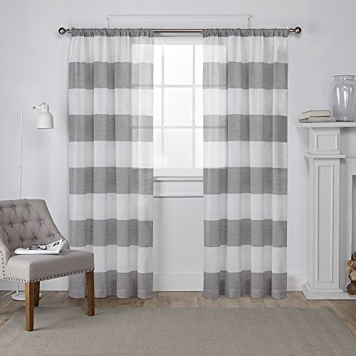 Home Linen Window Panel (Exclusive Home Darma Sheer Linen Window Curtain Panel Pair with Rod Pocket, Black Pearl, 50x84, 2 Piece)