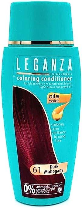 Leganza, 7 aceites naturales, bálsamo para el pelo de color caoba oscuro 61