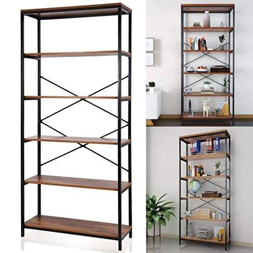 Cheap Cosway 5-Shelf Bookcase, Wood Bookshelf Tall Bookshelves and Bookcases for Home and Office Organizer