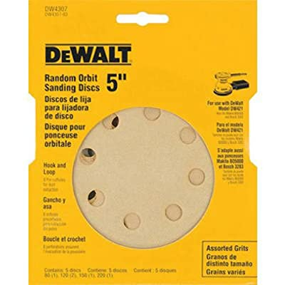 DEWALT DW4307 5-Inch 8 Hole Assortment Hook and Loop Random Orbit Sandpaper (5-Pack)