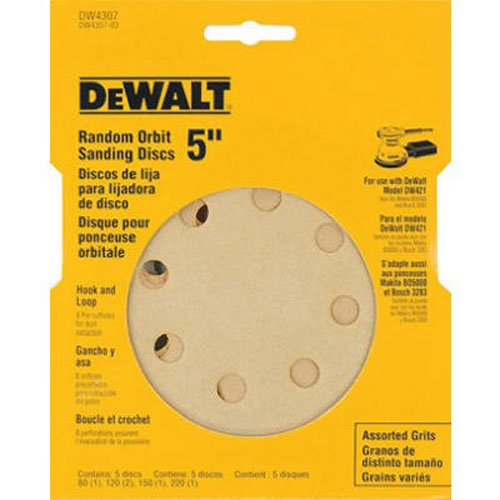 028874043077 - DEWALT DW4307 5-Inch 8 Hole Assortment Hook and Loop Random Orbit Sandpaper (5-Pack) carousel main 0