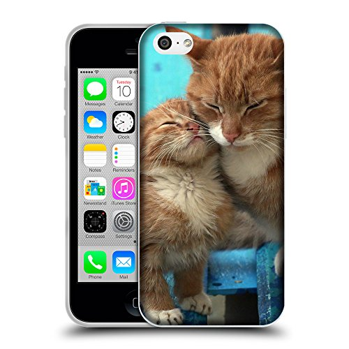 Just Phone Cases Coque de Protection TPU Silicone Case pour // V00004244 Ginger chat embrasse son chaton // Apple iPhone 5C