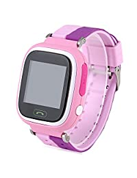 Kids Smart Phone SOS Call Location Finder GPS Safe Anti Lost Monitor Touch Wrist Watch (Pink)
