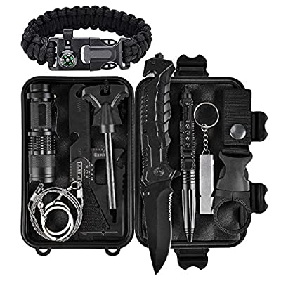 Emergency Survival Kit 13 in 1, Outdoor Survival Gear Tool with Survival Bracelet, Folding Knife, Compass, Emergency Blanket, Fire Starter, Whistle, Tactical Pen for Camping, Hiking, Climbing, Trips from XUANLAN