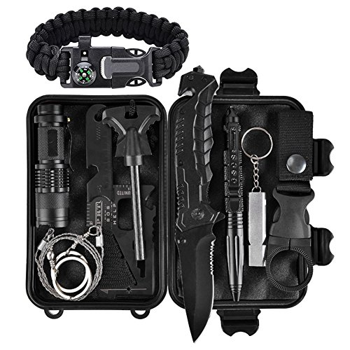 XUANLAN Emergency Survival Kit 13 in 1, Outdoor Survival Gear Tool with Survival Bracelet, Fire Starter, Whistle, Wood Cutter, Water Bottle Clip, Tactical Pen for Camping, Hiking, Climbing ()