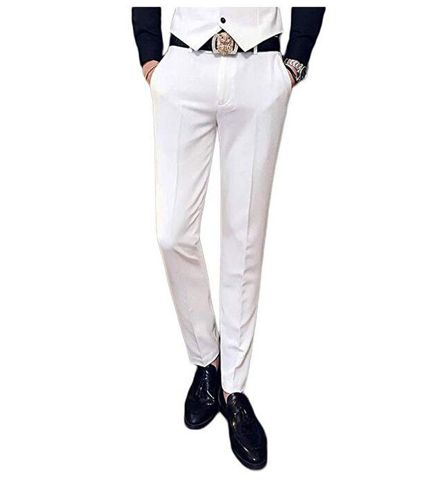 Yulain Men's Flat Front Suit Pants Modern Slim Fit Tapered Casual Pants Separate Trousers