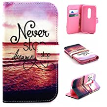 Moto G (3rd Gen) Case,Moto G3 Case,[Wallet Feature],YiLin [Kickstand][Card Slot][Flip][Slim Fit] Premium Protective Case for Motorola Moto G (3rd Gen) [Never Stop Dreaming]