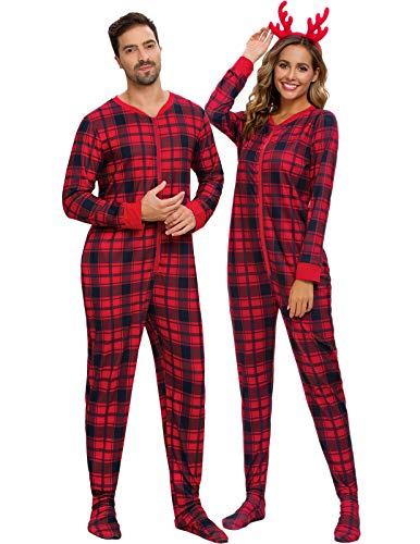 AMONIDA Christmas Family Onesie PJs Red Plaid Footed Pajama with Pockets S-2XL