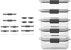 Rubbermaid Brilliance Storage 24-Piece Plastic Lids | BPA Free, Leak Proof Food Container, Clear & Brilliance Food Storage Container, BPA free Plastic, Medium, 3.2 Cup, 5 Pack, Clear