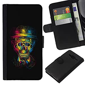 Planetar® Colorful Pattern Flip Wallet Leather Holster Protective Skin Case Cover For Samsung Galaxy Core Prime / SM-G360 ( 3D Gentleman Skull )
