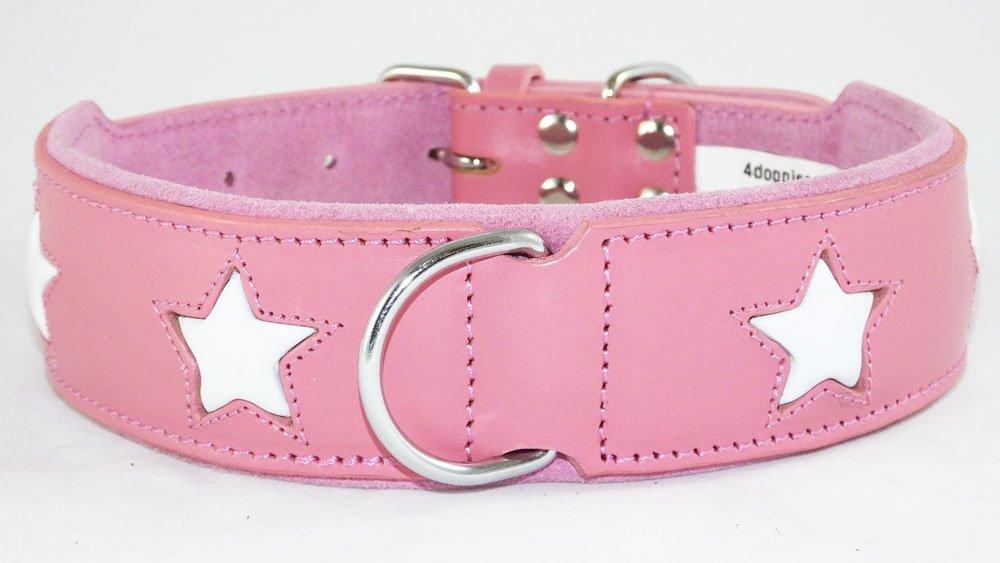 Collier pour chien en cuir rose avec 4étoiles Blanc à installer 43, 2–50, 8cm cou 2-50 4doggies