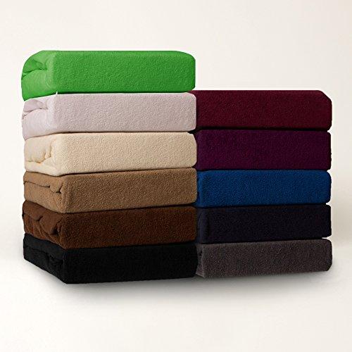 Zeitloses Frottee Spannbetttuch - alle Größen und Farben - 80% Baumwolle - 20% Polyester - 180-200 x 200 cm - anthrazit / dunkelgrau