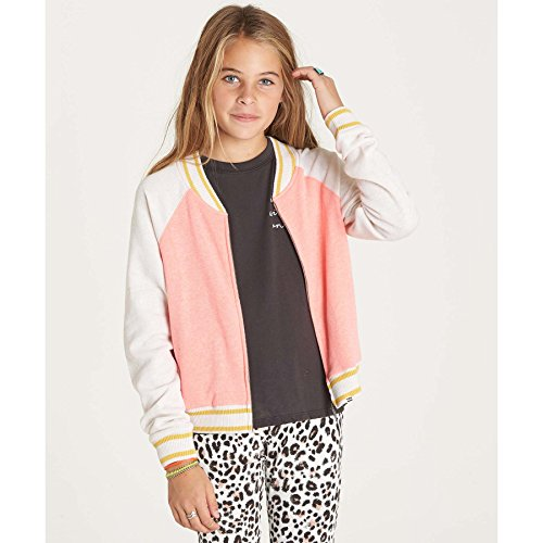 Billabong Big Girls' Tiger Eye Bomber Knit Baseball Jacket, PDP, L (Billabong Kids Jacket)