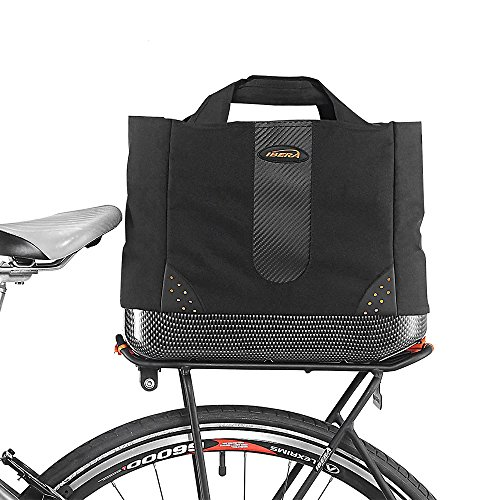 Rack Rear Cooler (Ibera 2 in 1 Bike PakRak Insulated Cooler Trunk Bag, Bicycle Shopping Bag for Grocery, Hand/ Shoulder Bag)