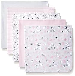 BON BEBE Girls\' Assorted 5 Pack Receiving Blankets, Pink Hearts/Butterflies, New Born