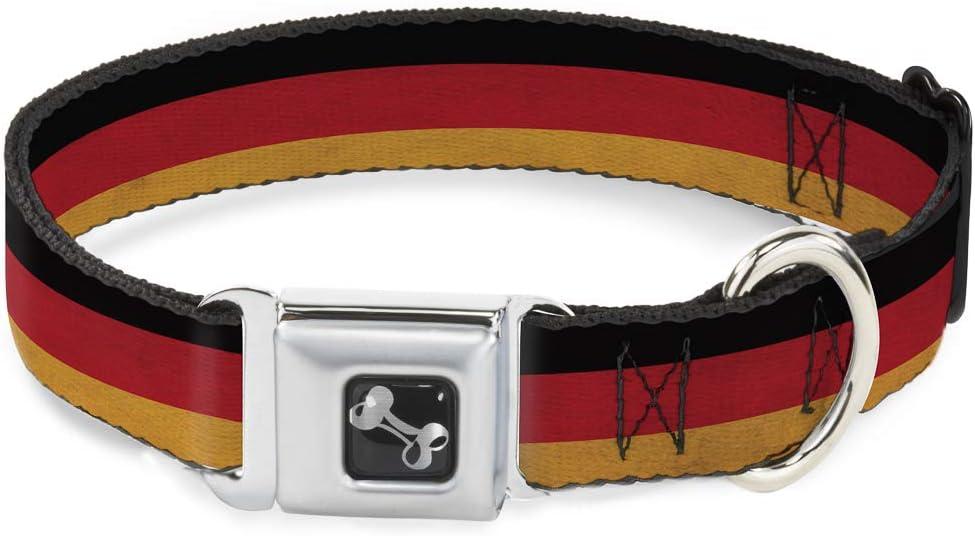 Buckle Down Alemania Bandera Envejecido Collar de Perro Hueso, pequeño/9 – 15
