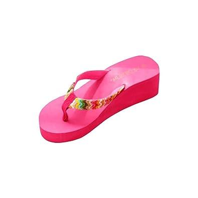 Ouneed® Sommer Plattform Sandelholz Strand Flache Keil Patch Flip Flops Lady Slippers Damen Erwachsene Zehentrenner (37, hot pink)