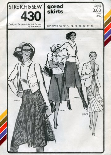 Stretch & Sew Pattern 430 ~ Ladies' Gored Skirts ~ Hip 30-46 (Stretch Gored Skirt)