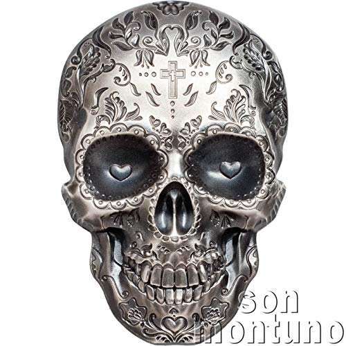 2018 PW LA CATRINA SKULL - 1 Oz Antique Finish High Relief Skull Shaped Silver Coin in Box with Certificate of Authenticity PALAU $5 - LIMITED MINTAGE OF ONLY 1750 PIECES 5 Dollars Antique Finish -