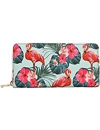 Women Leather Long Zipper Wallet Flamingo Print Clutch Purse Credit Card Holder