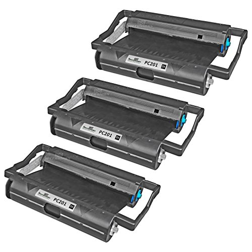 Speedy Inks - 3PK Brother PC201 Compatible Fax Cartridge with Roll for use in Brother Intellifax 1170, 1270, 1270e, 1570MC, 1575MC, MFC-1770, MFC-1780, MFC-1870MC, MFC-1970MC (Cartridge Compatible Fax Pc201)