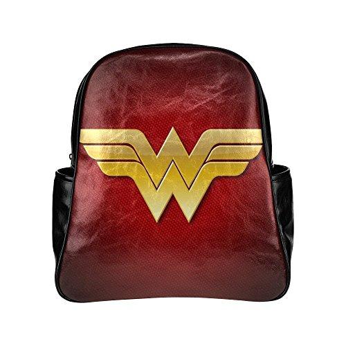 [SLJD Unisex Wonder woman Superhero DC Black Stylish Multi Pocket Backpack] (Hot Superhero Women)