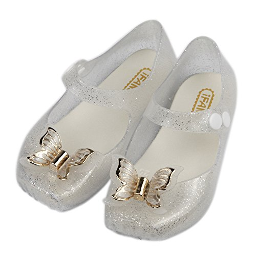 iFANS Girls Comfortable Cute Butterfly Toddler Kids Mary Jane Flats Ballet Shoes Silver]()