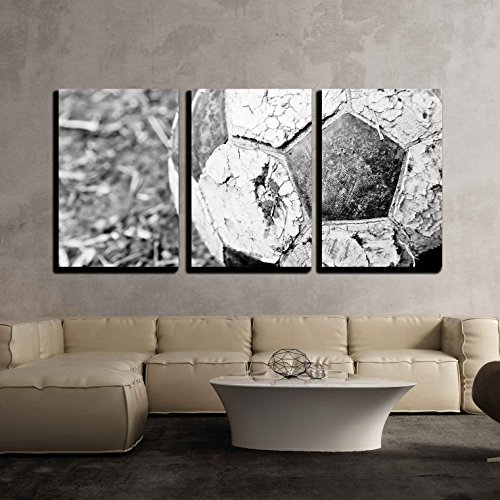 - wall26 - 3 Piece Canvas Wall Art - The Closeup Image of an Old Ball on The Ground - Modern Home Decor Stretched and Framed Ready to Hang - 24