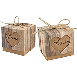 Awtlife 50pcs Candy Boxes Love Rustic Kraft With Vintage Twine for Wedding Party Birthday Baby Shower Decoration