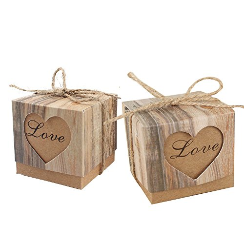 (Awtlife 50pcs Candy Boxes Love Rustic Kraft With Vintage Twine for Wedding Party Birthday Baby Shower)