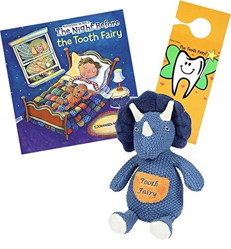 (Tooth Fairy Kit - Plush Triceratops Dinosaur Figure w/ Pocket Maison Chic, Tooth Fairy Book & Door Hanger for Boys About to Loose Their First Tooth (Triceratops w/Night Before The Tooth Fairy Book) )