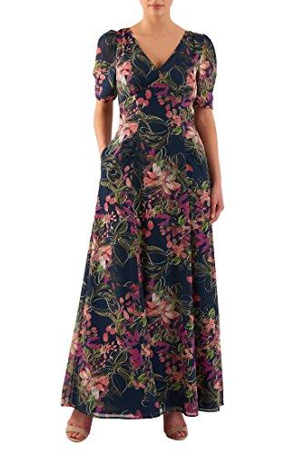 eShakti Women's Floral print georgette empire maxi dress 4X-30W Regular Deep navy - Dress Georgette Stretch