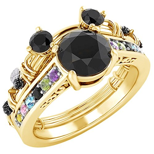Round Cut Moissanite and Multi Gemstone Mickey Mouse Fashion Ring in 14K Yellow Gold Over Sterling (14k Multi Gem Ring)