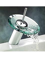 torneira de banheiro redondo vidro efluente de cascata mangueira fria e quente