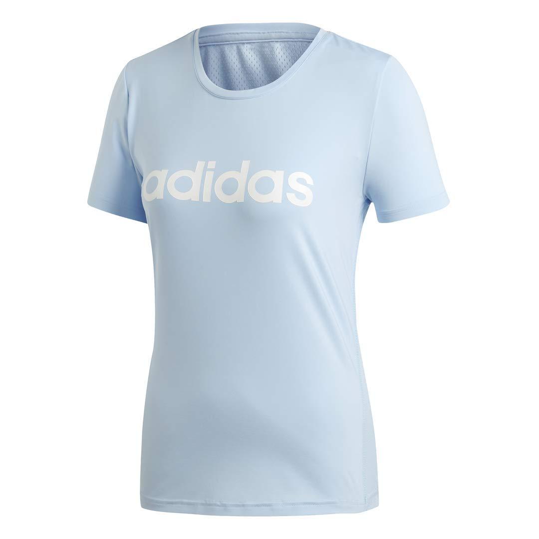 adidas Women's Designed 2 Move Logo Training Tee, Glow Blue/White, Large by adidas