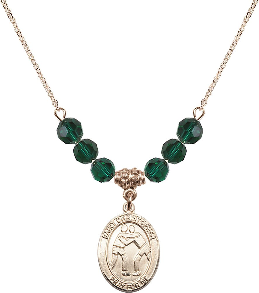Gold Plated Necklace with 6mm Emerald Birthstone Beads & Saint Christopher/Wrestling Charm. by F A Dumont